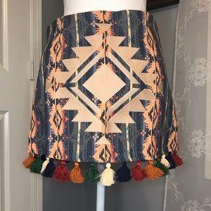 NWT Judith March Jacquard Skirt Tassel Trim SZ M